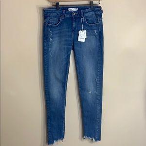 Zara mid rise skinny distressed raw hem jeans